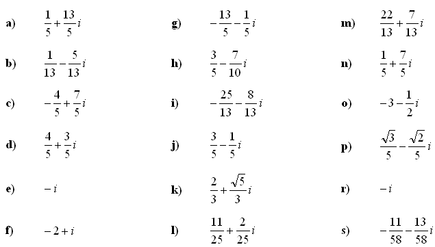 Complex numbers and complex equations - Answers to Exercise 4