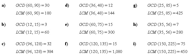 The least common multiple and greatest common divisor - Answers to Exercise 1