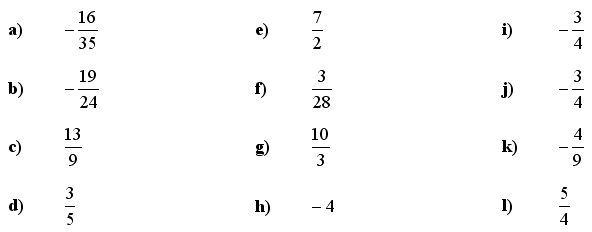 Fractions and Decimals - Answers to Exercise 6