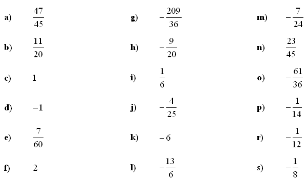 Fractions and Decimals - Answers to Exercise 7