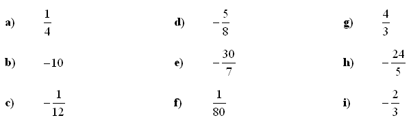 Fractions and Decimals - Answers to Exercise 8