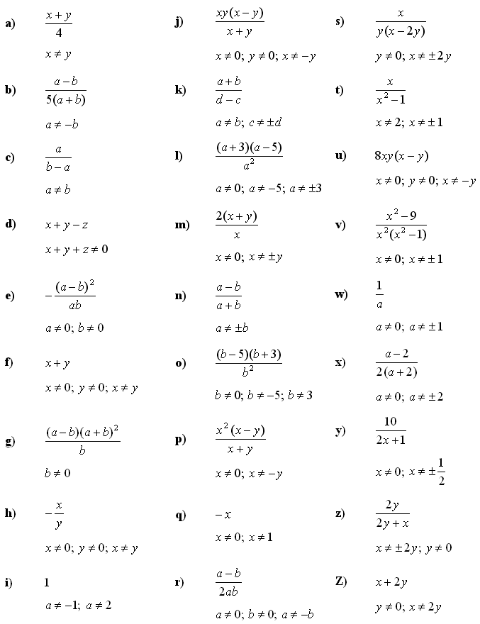Algebraic fractions - Answers to Exercise 1