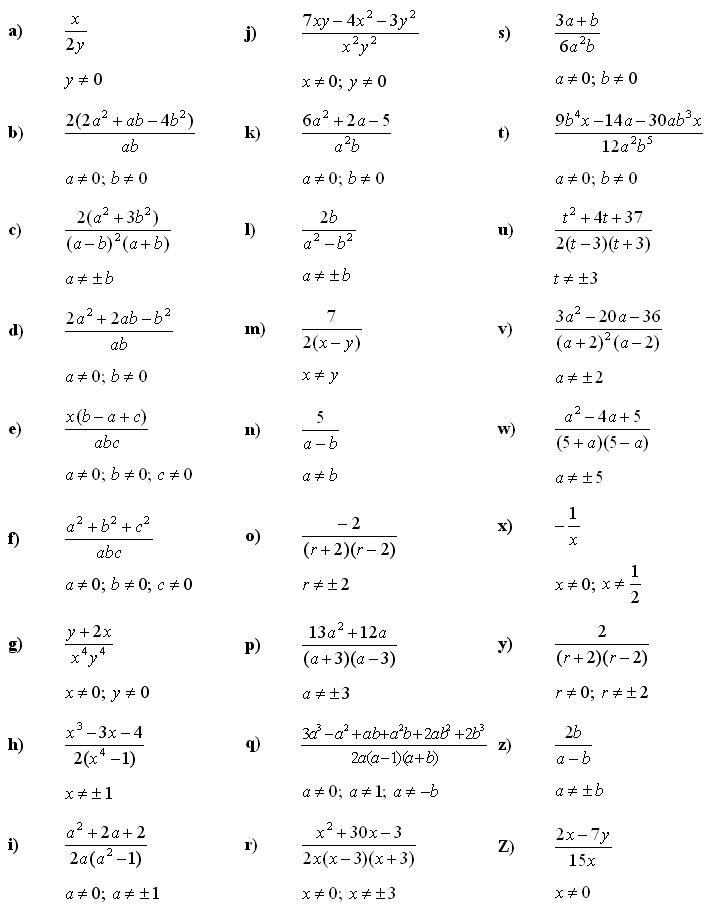 Algebraic fractions - Answers to Exercise 2