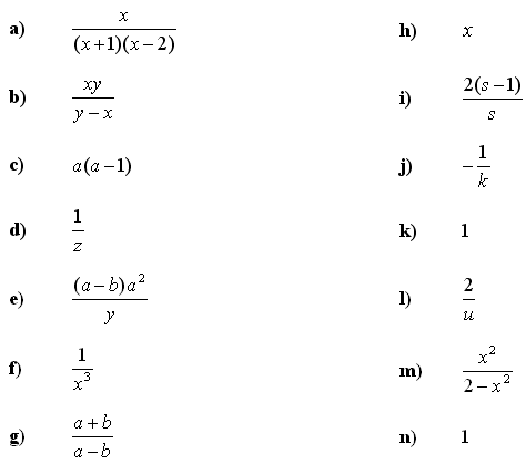 Algebraic fractions - Answers to Exercise 3