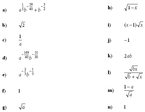 Algebraic fractions - Answers to Exercise 5