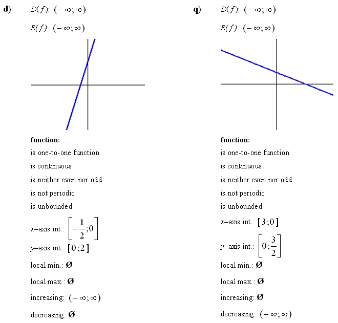 Linear function - Answers to Exercise 1