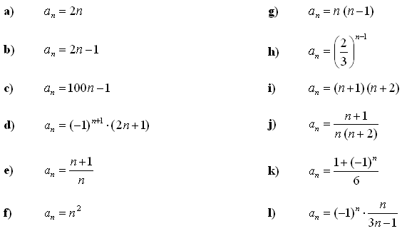 Sequence - Answers to Exercise 1