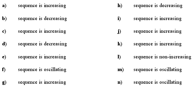 Sequence - Answers to Exercise 5