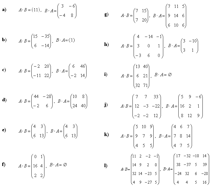 Sum, difference and product of matrices - Answers to Exercise 2