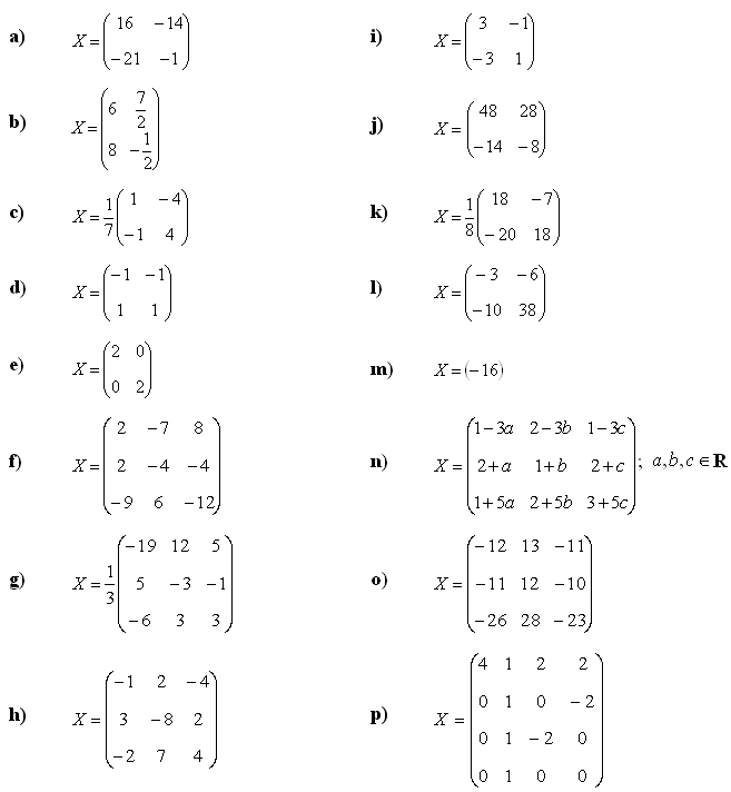 Matrix equations - Answers to Exercise 1