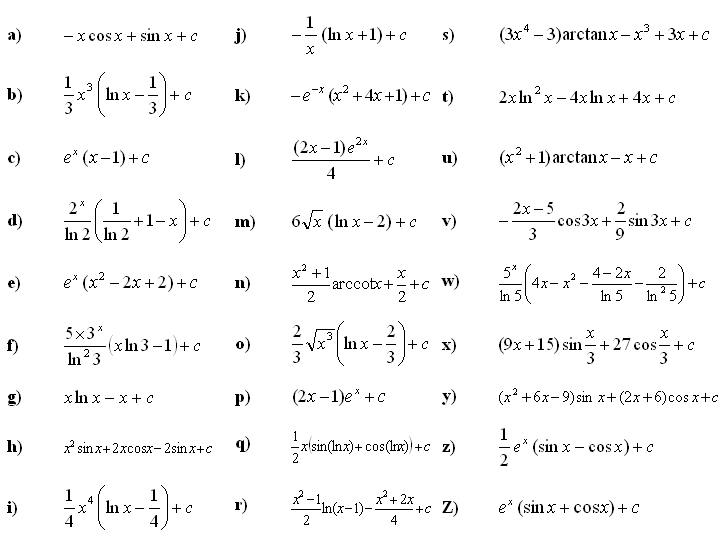 Indefinite integral of a function - Answers to Exercise 3
