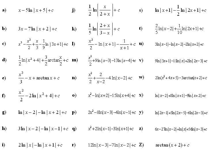 Indefinite integral of a function - Answers to Exercise 4