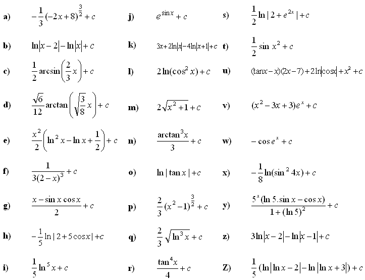 Indefinite integral of a function - Answers to Exercise 7