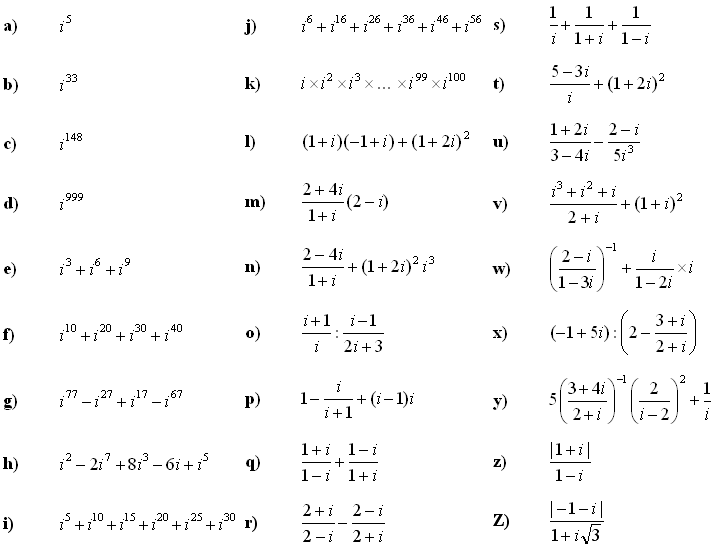 Complex numbers and complex equations - Exercise 1