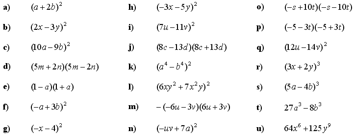 Formulas, expending, factoring and grouping the terms - Exercise 1
