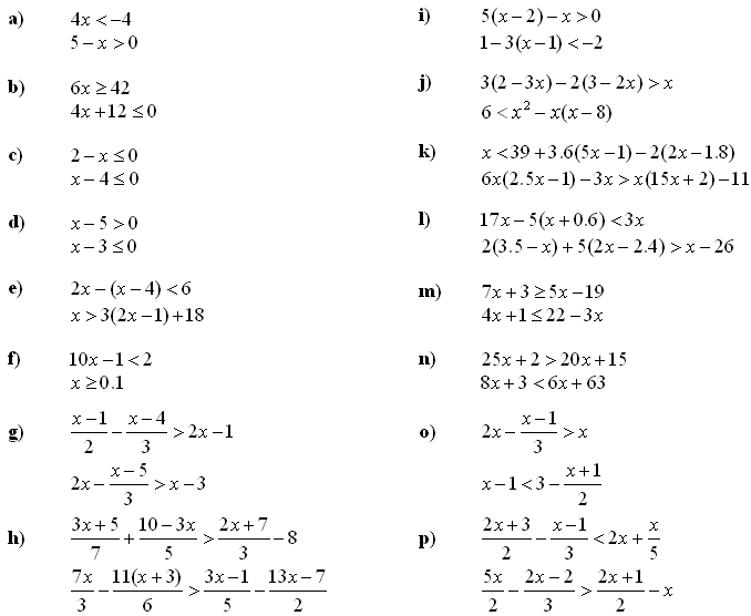 Systems of linear equations and inequalities - Exercise 6