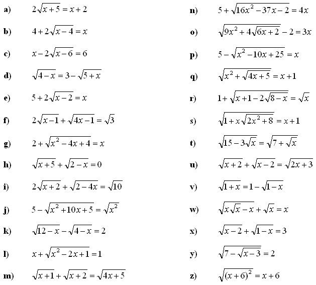 Irrational equations and inequalities - Exercise 1