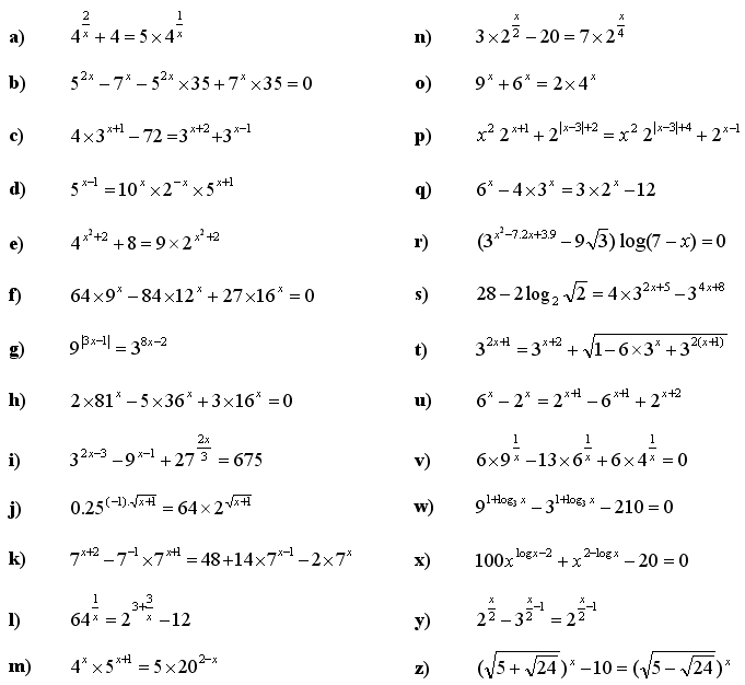 Exponential equations and inequalities - Exercise 3