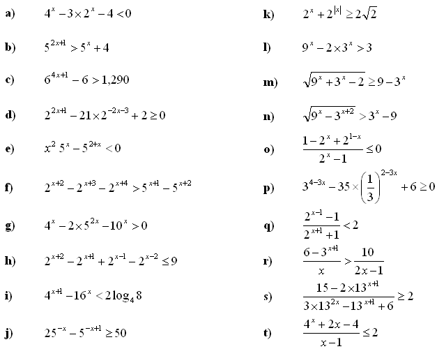 Exponential equations and inequalities - Exercise 4
