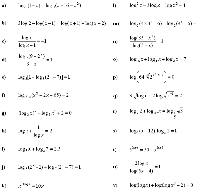 Logarithmic equations and inequalities - Exercise 3