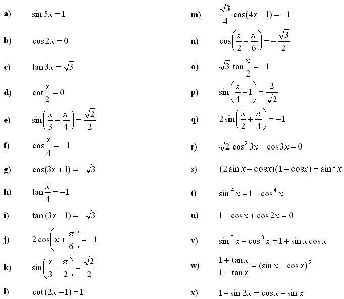 Trigonometric equations and inequalities - Exercise 2