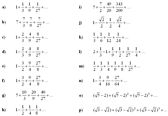 Infinite series and sums - Exercise 1