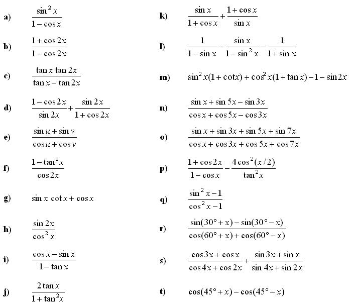 Math Exercises Math Problems Trigonometry And