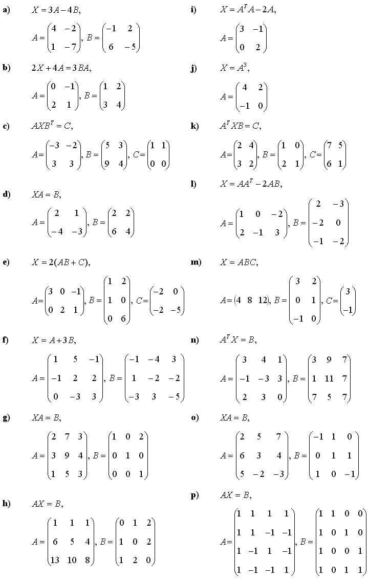 Matrix equations - Exercise 1